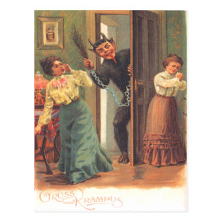 Krampus Punishing Women Postcard