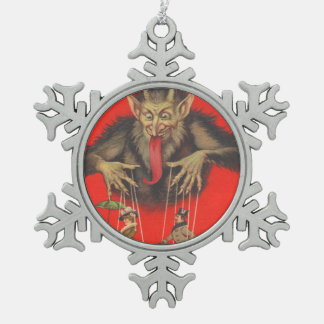 Krampus Puppeteering Adults Snowflake Pewter Christmas Ornament