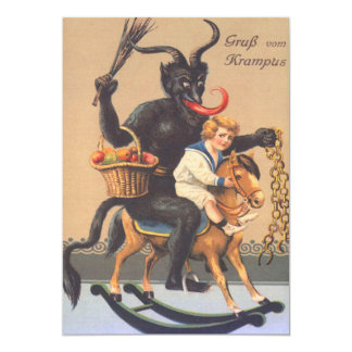 Krampus Riding Hobbyhorse With Boy 13 Cm X 18 Cm Invitation Card