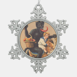 Krampus Riding Hobbyhorse With Boy Snowflake Pewter Christmas Ornament