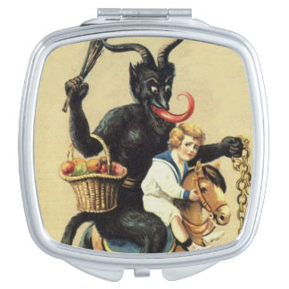 Krampus Rocking Horse Holiday Xmas Compact Mirror