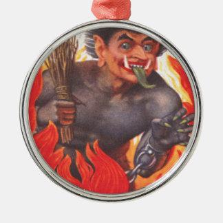 Krampus Silver-Colored Round Decoration
