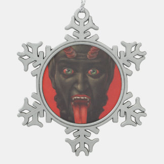 Krampus Snowflake Pewter Christmas Ornament