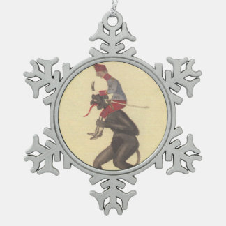 Krampus & Soldier Snowflake Pewter Christmas Ornament
