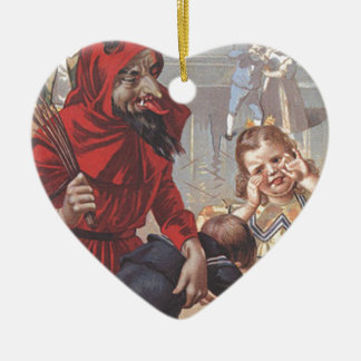 Krampus Spanking Child Ceramic Heart Decoration