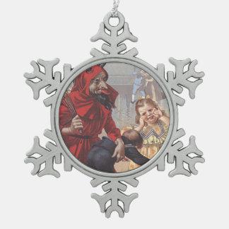 Krampus Spanking Child Snowflake Pewter Christmas Ornament