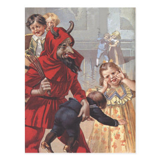 Krampus Spanking Child Postcard