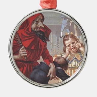 Krampus Spanking Child Silver-Colored Round Decoration