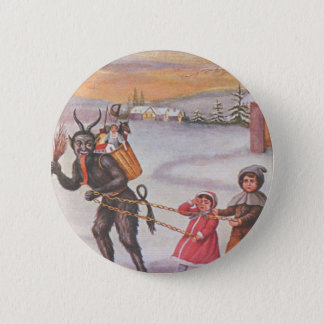 Krampus Stealing Toys & Children 6 Cm Round Badge