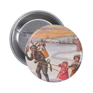 Krampus Stealing Toys & Children 6 Cm Round Badge