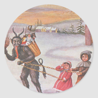 Krampus Stealing Toys & Children Classic Round Sticker