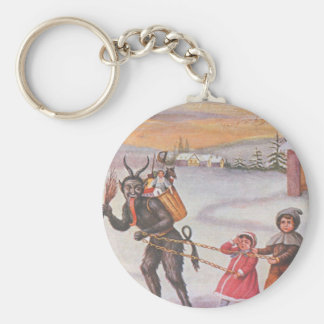 Krampus Stealing Toys & Children Key Ring