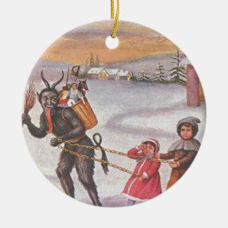 Krampus Stealing Toys & Children Round Ceramic Decoration