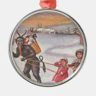 Krampus Stealing Toys & Children Silver-Colored Round Decoration