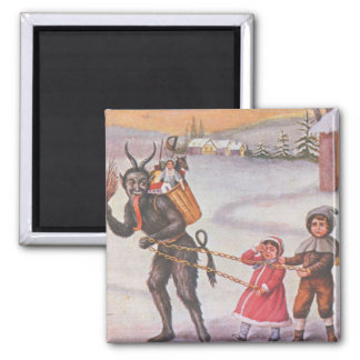 Krampus Stealing Toys & Children Square Magnet