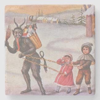 Krampus Stealing Toys & Children Stone Beverage Coaster