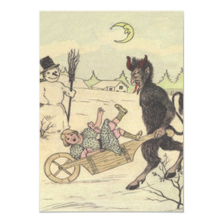 Krampus Taking Away Bad Child 13 Cm X 18 Cm Invitation Card