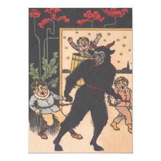 Krampus Taking Away Bad Children 13 Cm X 18 Cm Invitation Card