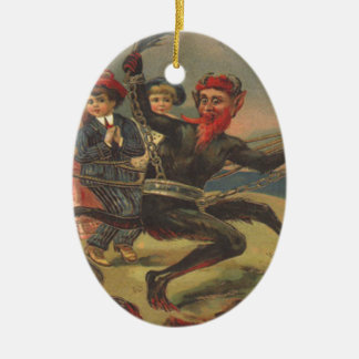 Krampus Taking Bad Children To Hell Ceramic Oval Decoration