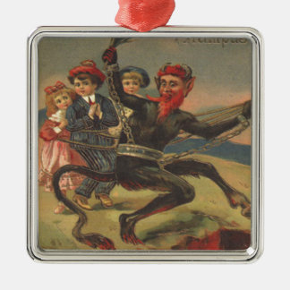 Krampus Taking Bad Children To Hell Silver-Colored Square Decoration