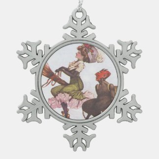 Krampus & Victorian Witch Pewter Snowflake Decoration