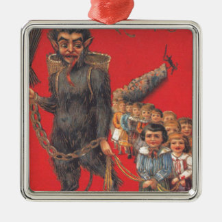 Krampus With Bad Children Silver-Colored Square Decoration