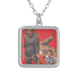 Krampus With Bad Children Silver Plated Necklace