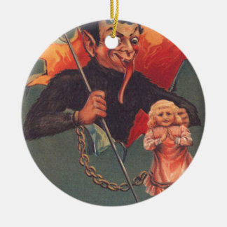 Krampus With Girl & Pitchfork Ornament