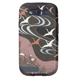 Kranen, rivier, de herfstbloemen en mist galaxy SIII covers
