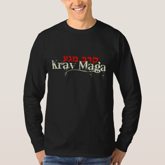 Krav Maga Black Long Sleeve Tee - Hebrew
