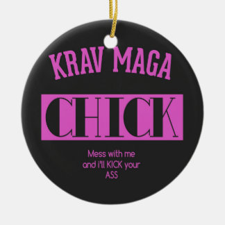 Krav Maga Chick - Mess with me Christmas Ornament