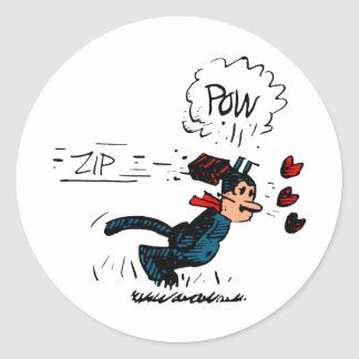 """""""Krazy Gets Beaned"""" Classic Round Sticker"""
