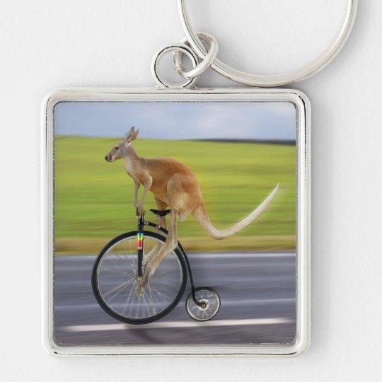 Krazy Kangaroo Silver-Colored Square Key Ring