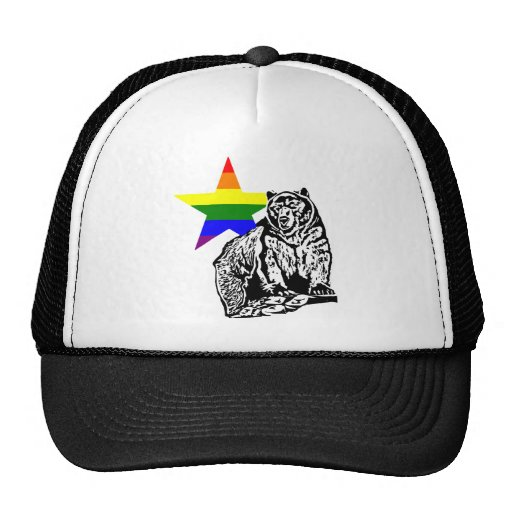 Kris Alan grizzly bear Rainbow Mesh Hats
