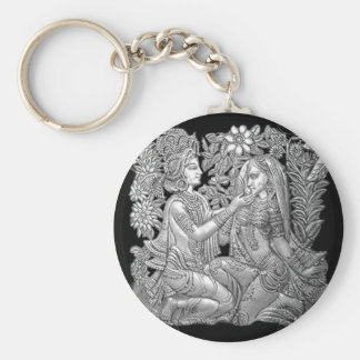 Krishna and Radha Basic Round Button Key Ring