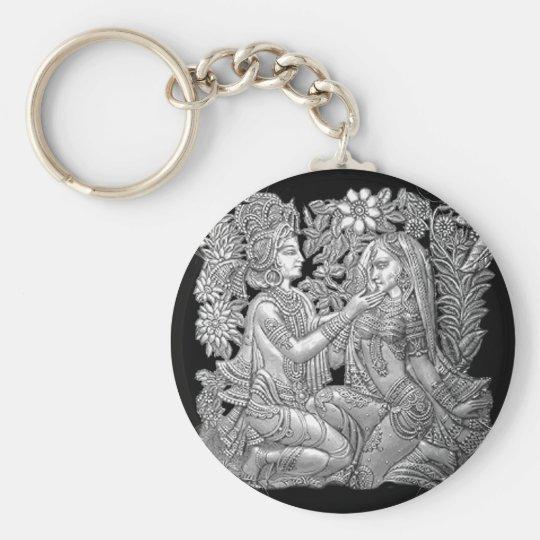 Krishna and Radha Basic Round Button Key Ring