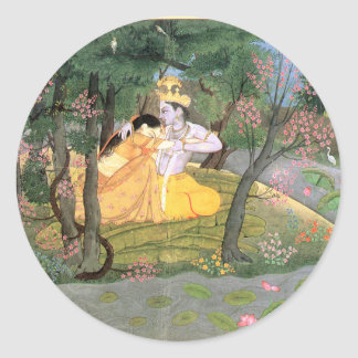 Krishna and Radha Classic Round Sticker
