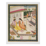 Krishna and Radha on a bed in a Mogul palace, Punj Poster