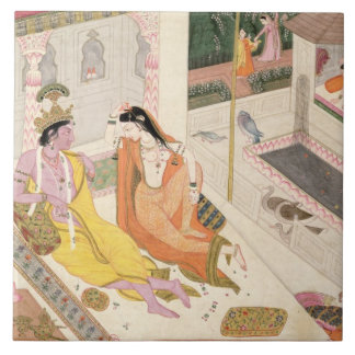 Krishna and Radha on a bed in a Mogul palace, Punj Tile