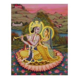 Krishna and Radha on Lotus -large print