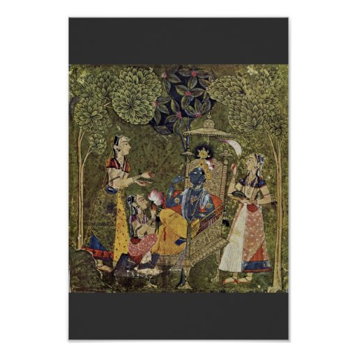 Krishna And The Girls By Indischer Maler Um