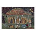 Krishna And The Mountain Govardhan By Shahadin Posters