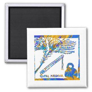 Krishna - Flute, Peacock Feather n Buttermilk Square Magnet