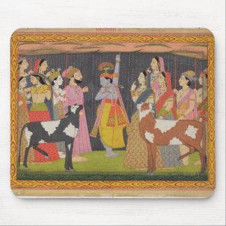Krishna lifting Mount Govardhana, from the 'Bhagav Mouse Mat