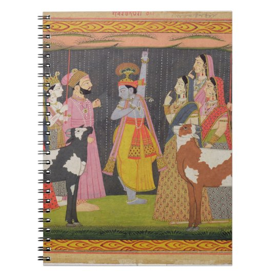 Krishna lifting Mount Govardhana, from the 'Bhagav Notebooks