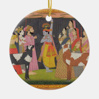 Krishna lifting Mount Govardhana, from the 'Bhagav Round Ceramic Decoration