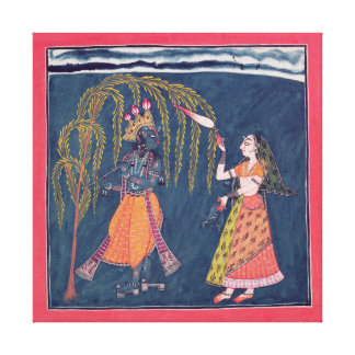 Krishna playing a flute, from the 'Vahula Canvas Print