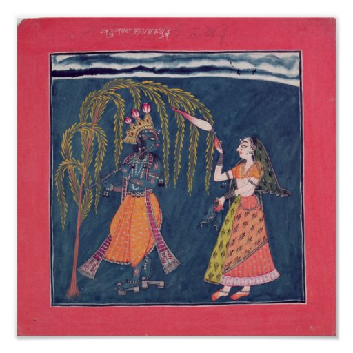 Krishna playing a flute, from the 'Vahula Print