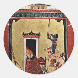 Krishna Steals Milk By Indischer Maler Um 1750 B Round Stickers