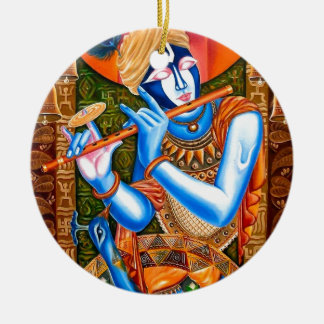 KRISHNA THE FLUTE PLAYER INDIAN ABSTRACT CHRISTMAS ORNAMENTS